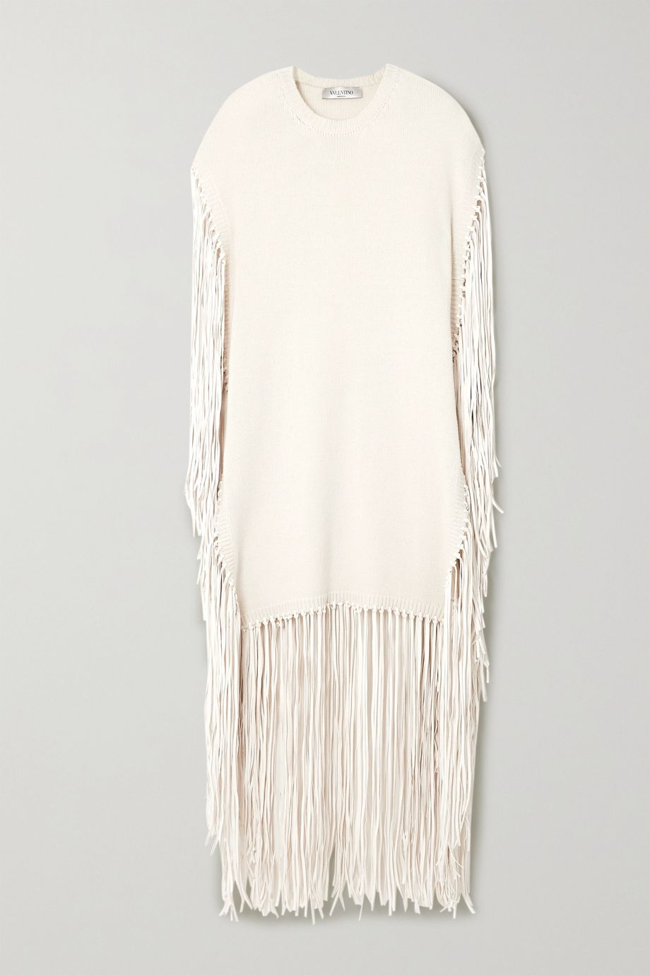 Valentino Fringed leather-trimmed wool and cashmere-blend poncho