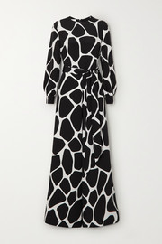 Valentino Belted printed silk-crepe jumpsuit