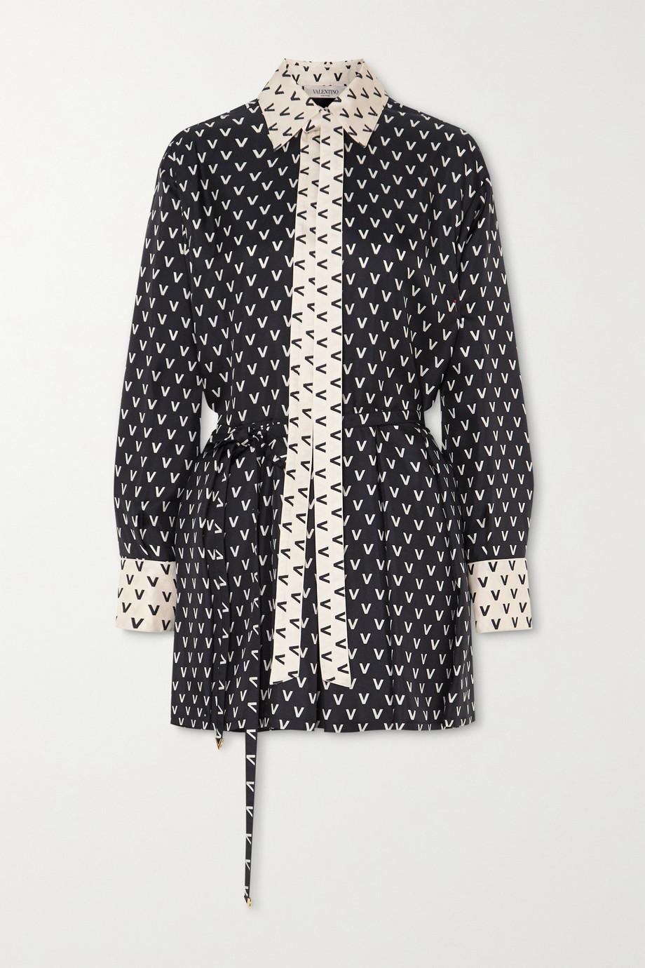 Valentino Printed silk-twill playsuit