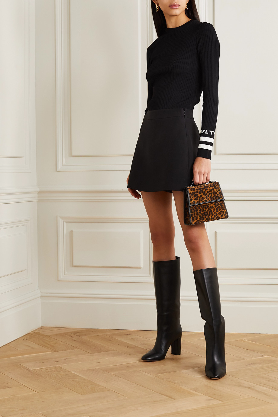 Valentino Intarsia ribbed-knit sweater