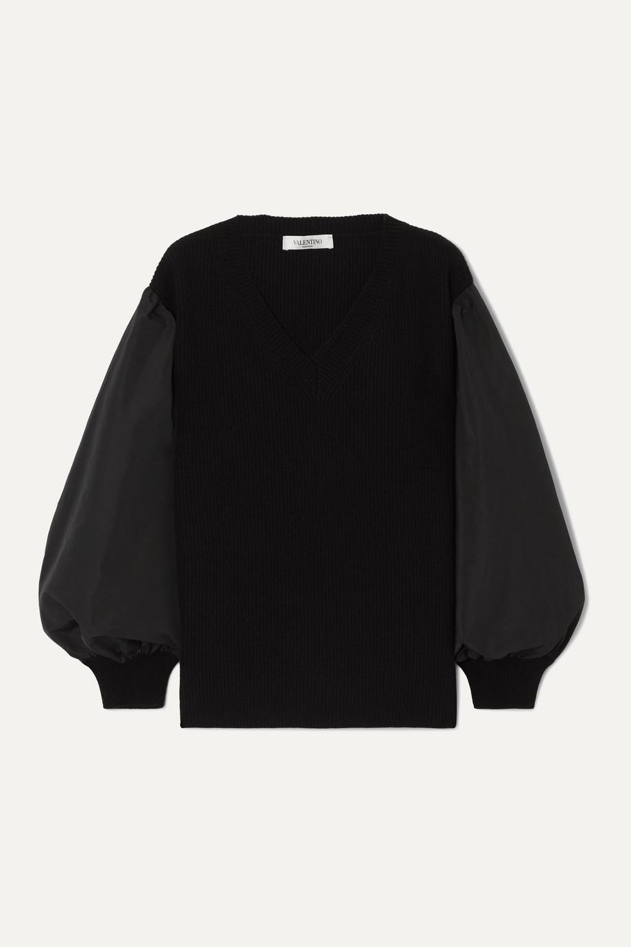 Valentino Paneled cotton-blend poplin and wool and cashmere-blend sweater
