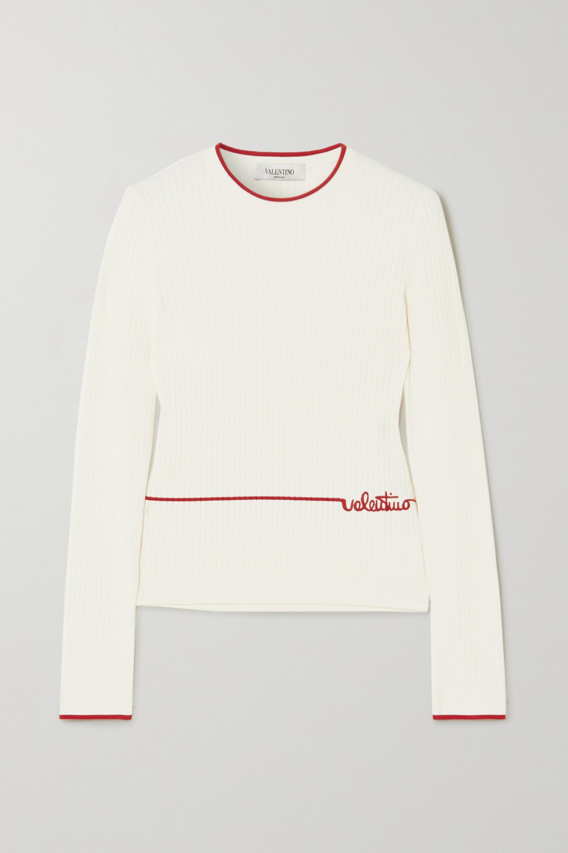 Valentino Pull en mailles côtelées à broderies