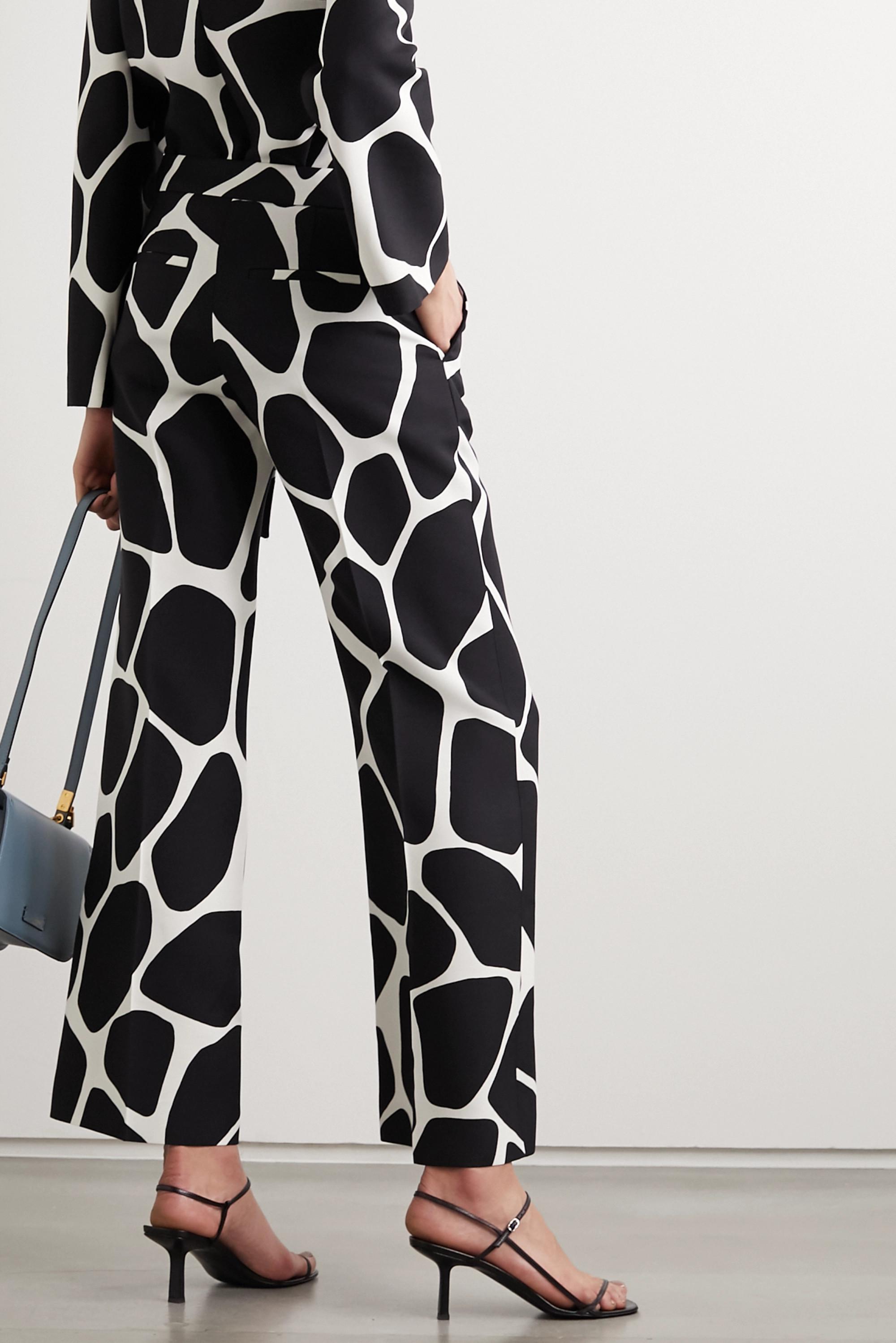 Valentino Bedruckte Hose mit weitem Bein aus Crêpe aus einer Woll-Seidenmischung