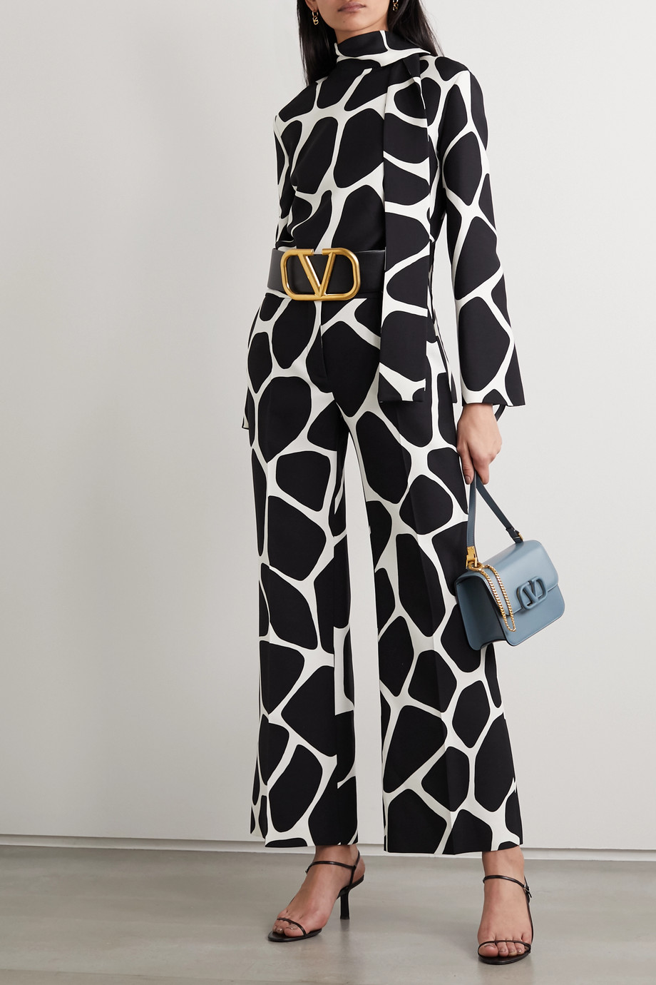 Valentino Printed wool and silk-blend crepe wide-leg pants