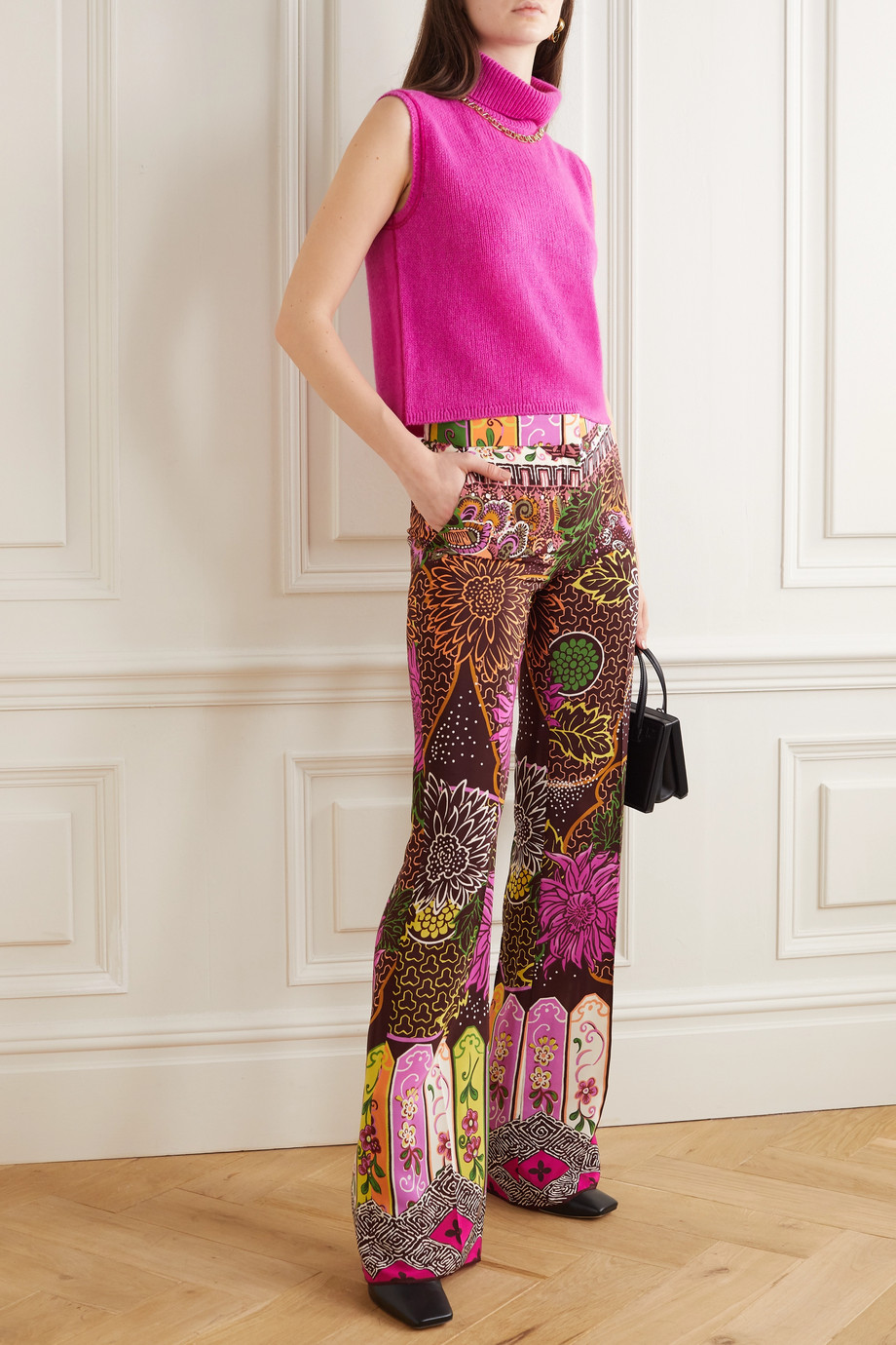 Valentino Printed silk crepe de chine straight-leg pants