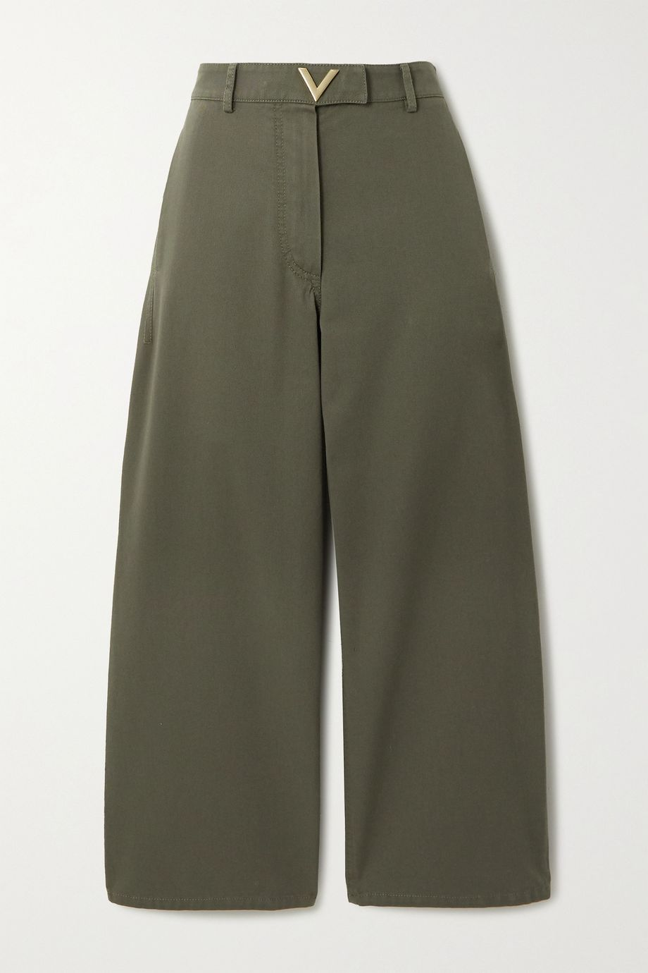 Valentino Cropped cotton-twill wide-leg pants