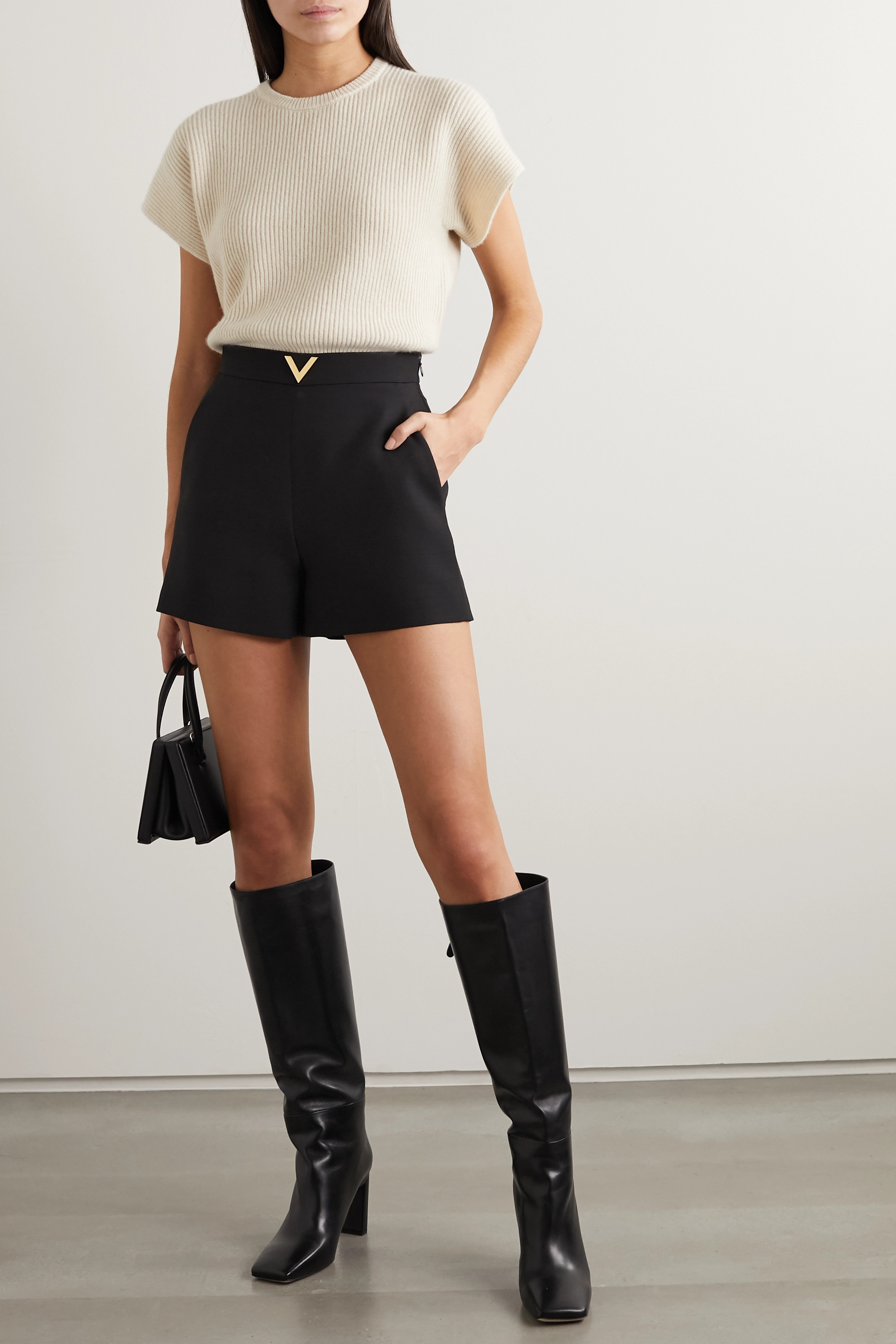 Valentino Embellished wool and silk-blend shorts