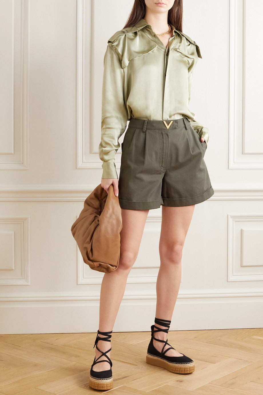 Valentino Embellished cotton-twill shorts