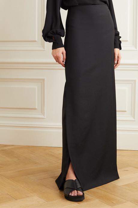 Wool and mohair-blend maxi skirt