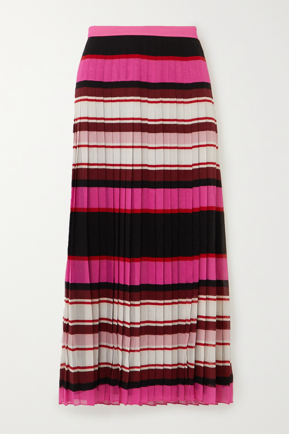 Valentino Pleated striped silk-georgette midi skirt