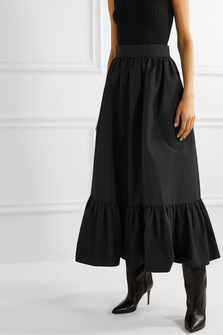 Tiered cotton-blend poplin midi skirt