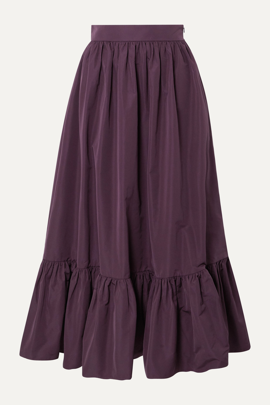 Valentino Tiered cotton-blend poplin midi skirt