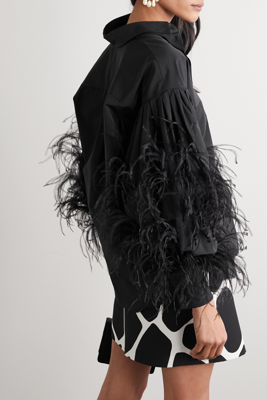 Valentino Bluse aus Popeline aus einer Baumwollmischung mit Federn