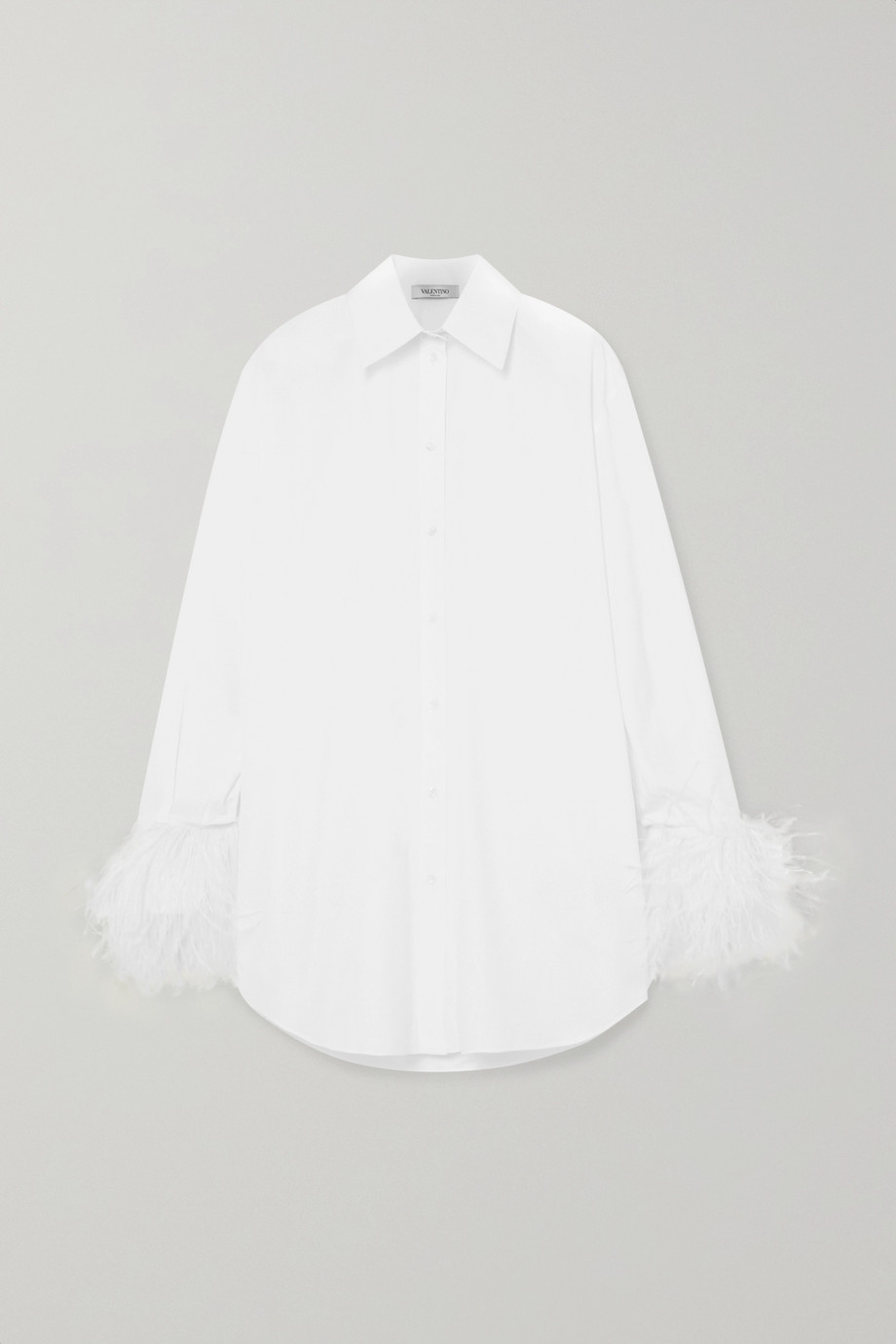 Valentino Feather-trimmed cotton-poplin shirt