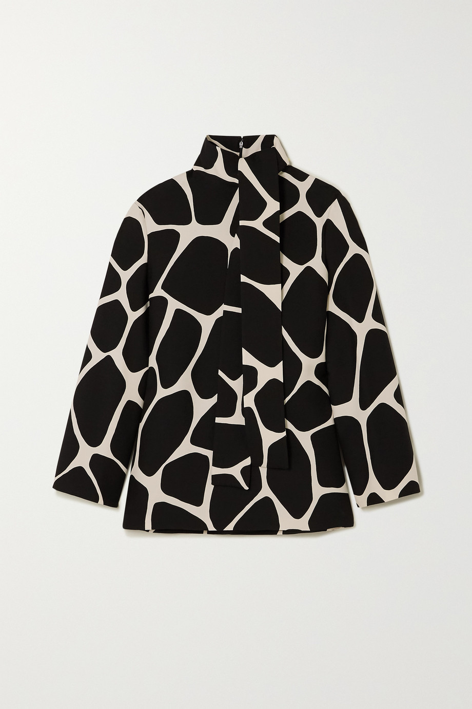 Valentino Printed wool and silk-blend crepe top