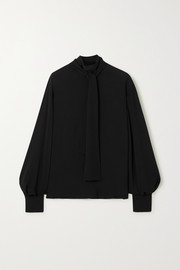 Valentino Tie-detailed silk-crepe blouse