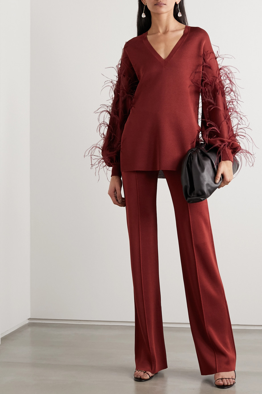 Valentino Feather-embellished ponte sweater