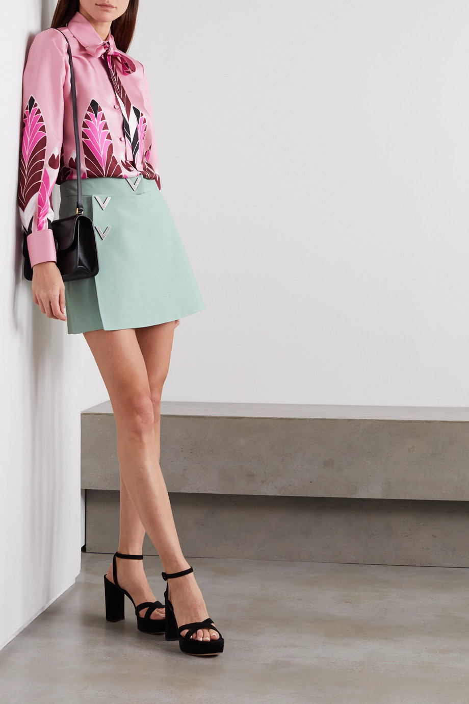 Valentino Pussy-bow printed silk-twill blouse