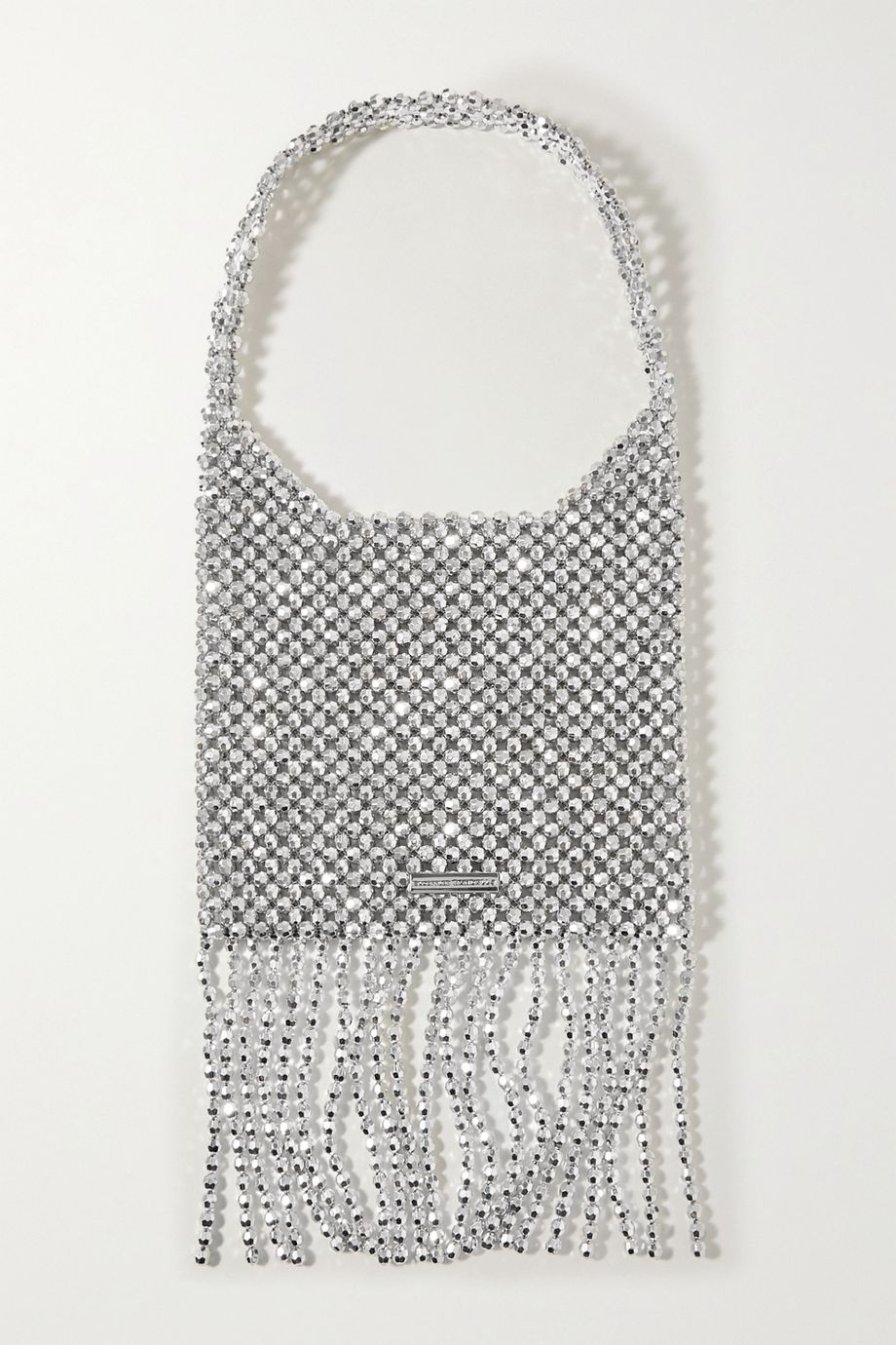Loeffler Randall Cher fringed metallic beaded shoulder bag