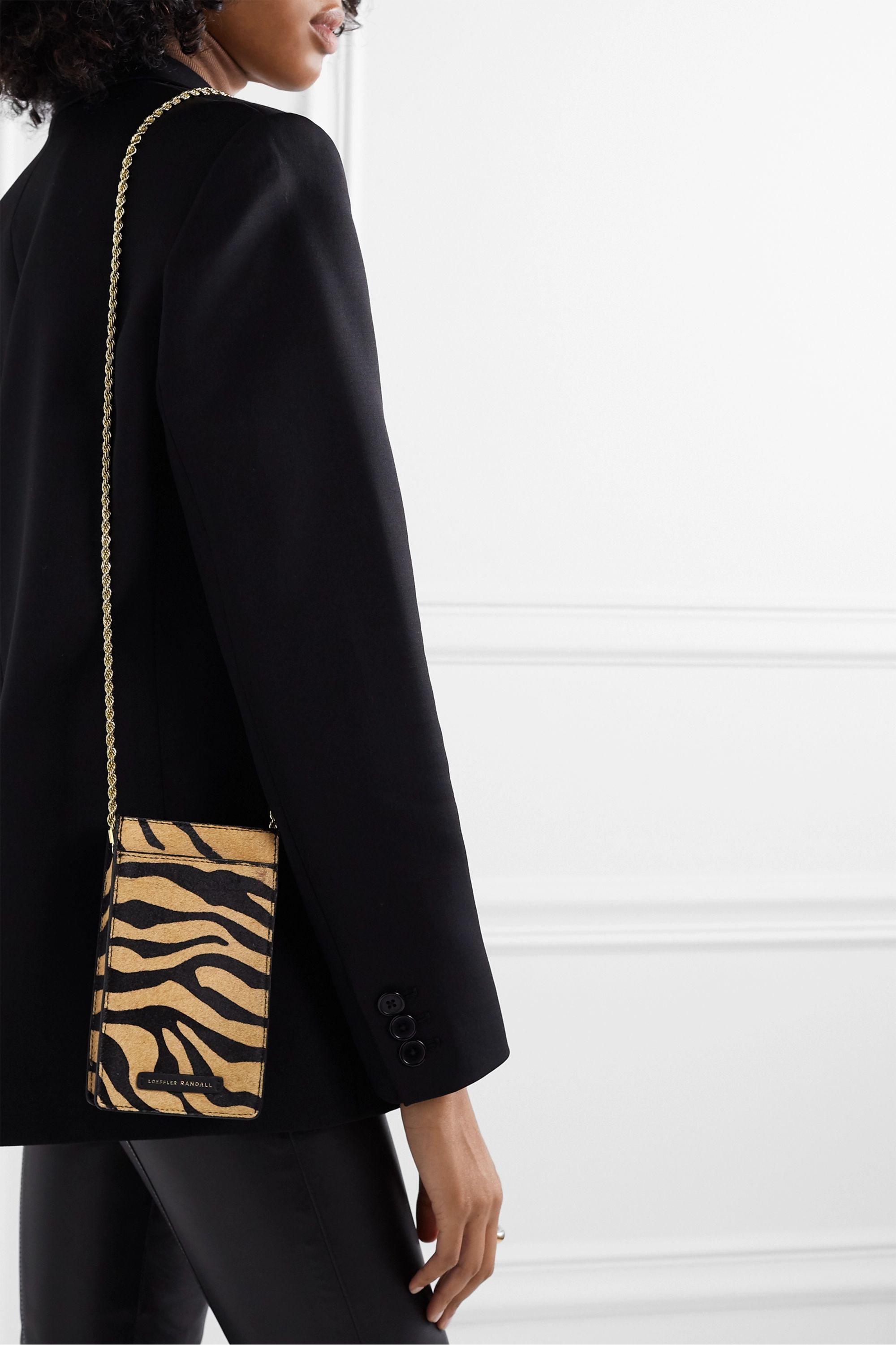 Loeffler Randall Augusta tiger-print calf hair shoulder bag