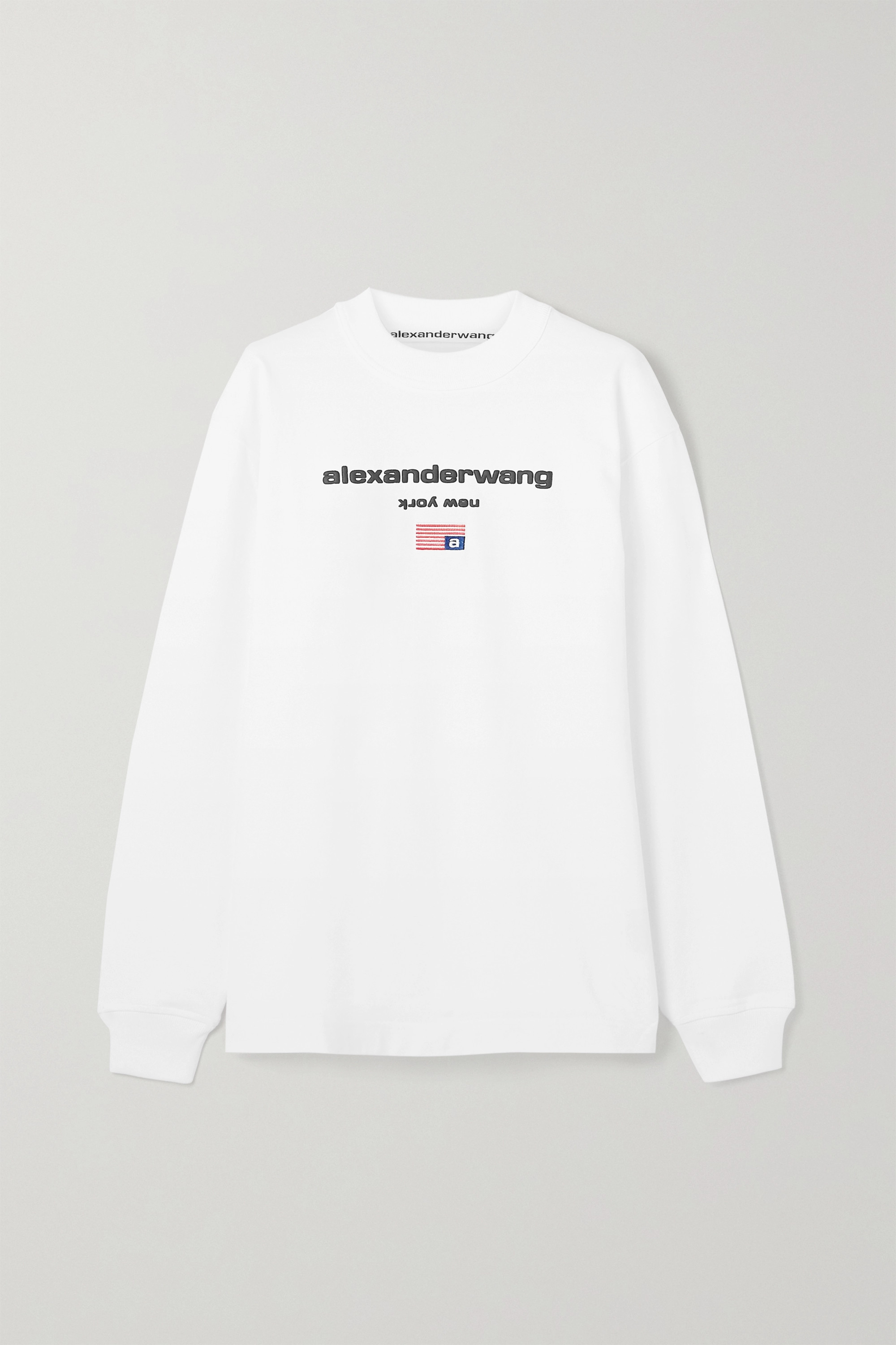 Alexander Wang Oversized embroidered printed cotton-jersey top