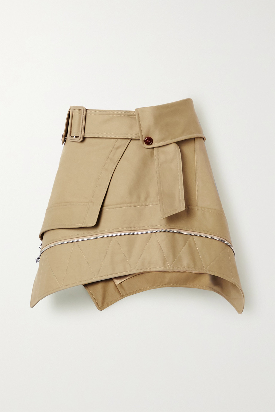 Alexander Wang Belted cotton-blend gabardine mini skirt