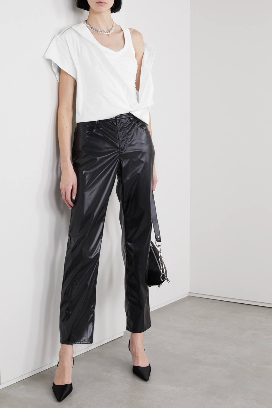 Alexander Wang Cropped layered cotton-twill and ribbed jersey blouse
