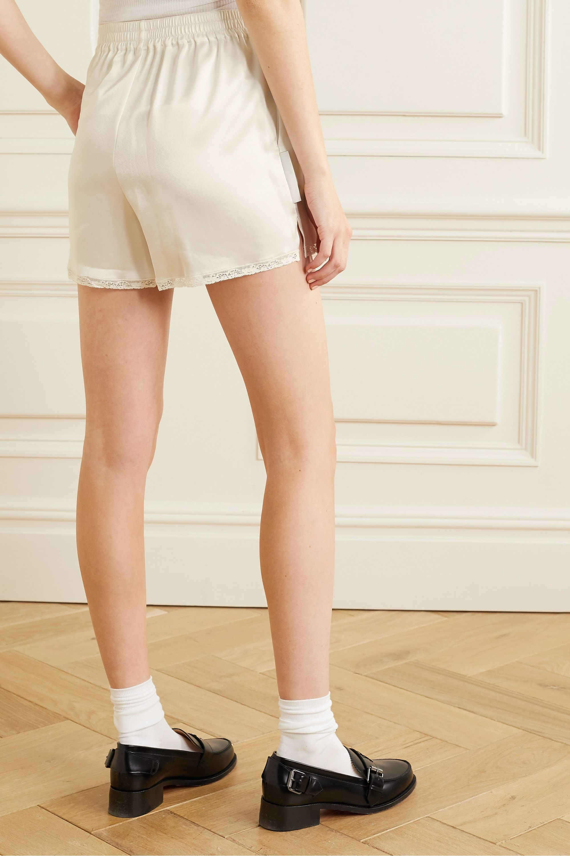Alexander Wang Embroidered lace-trimmed satin shorts