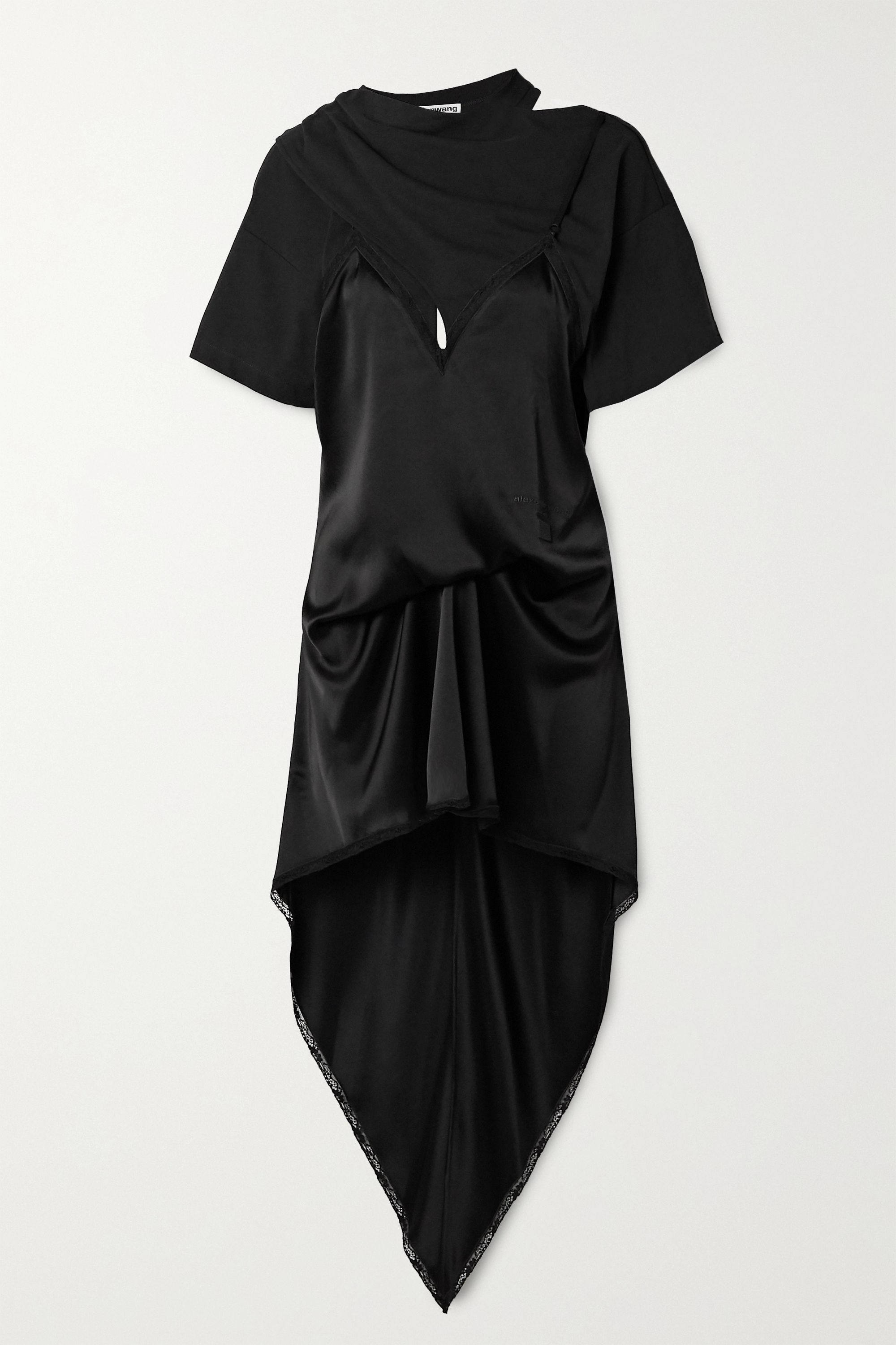 Alexander Wang Asymmetric lace-trimmed satin and cotton-jersey dress
