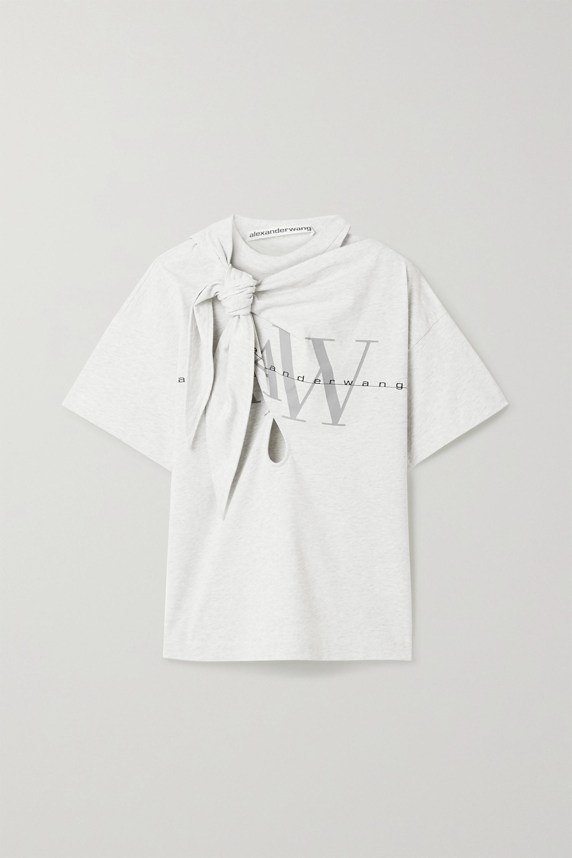 Alexander Wang Knotted cutout printed cotton-jersey T-shirt