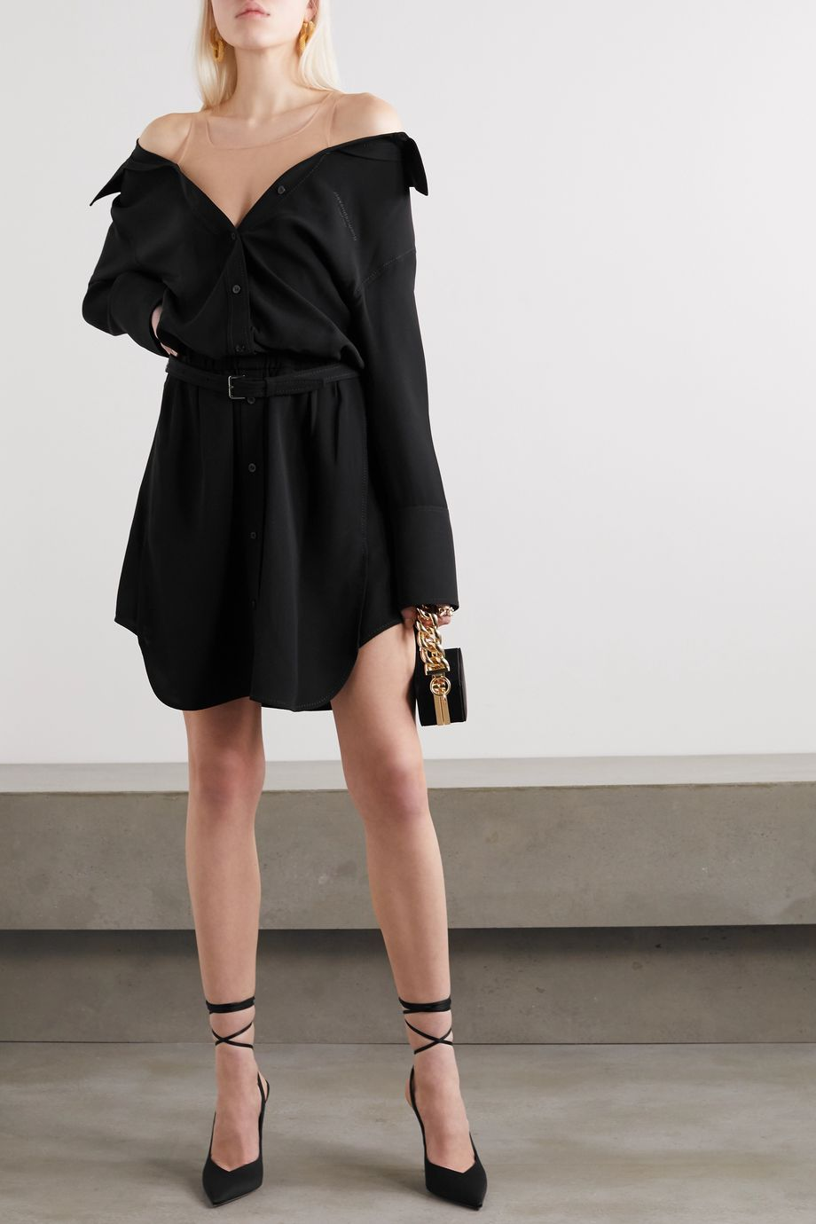 Alexander Wang Belted tulle-trimmed silk-crepe mini shirt dress