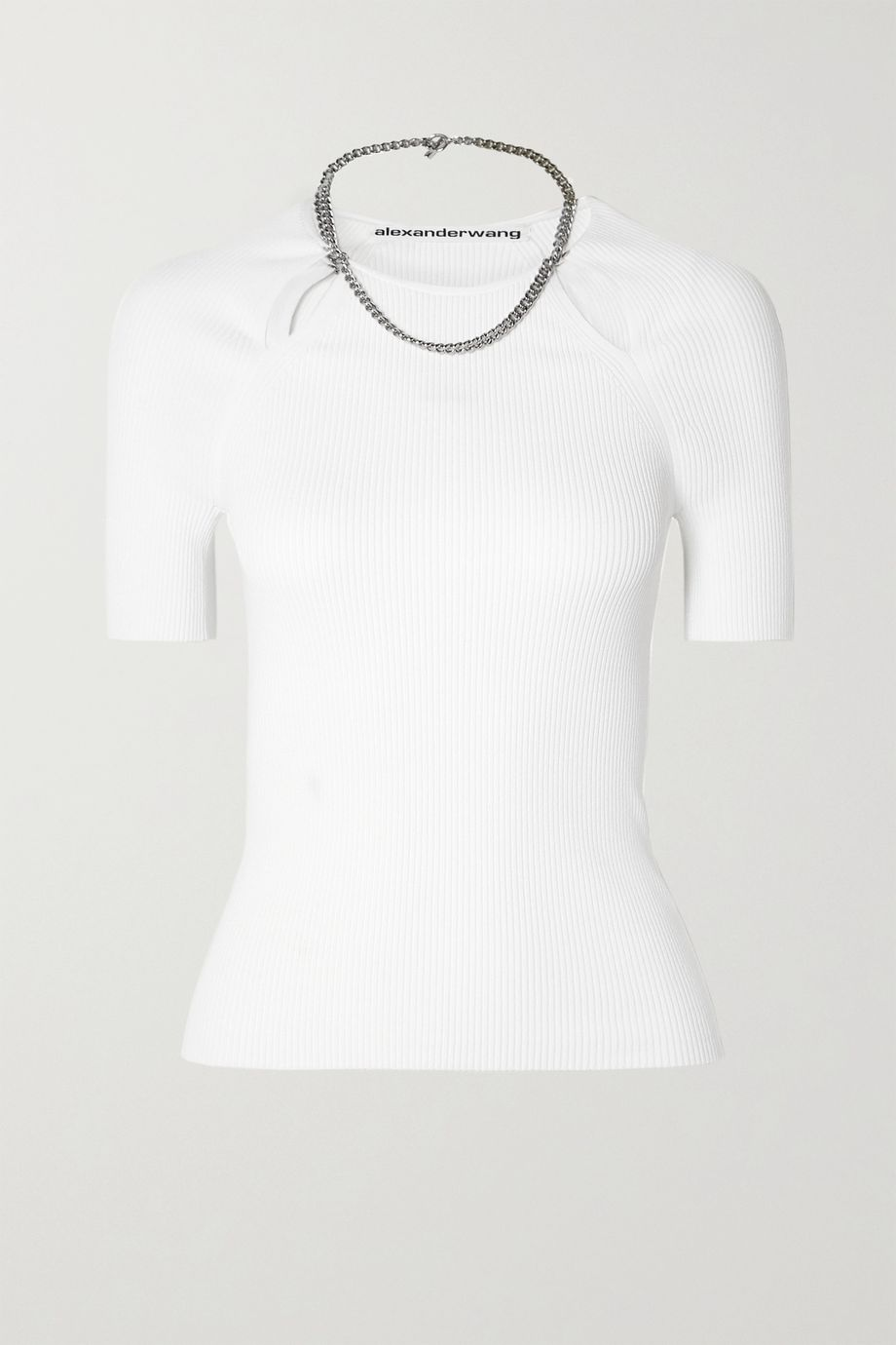 Alexander Wang Chain-embellished ribbed-knit top