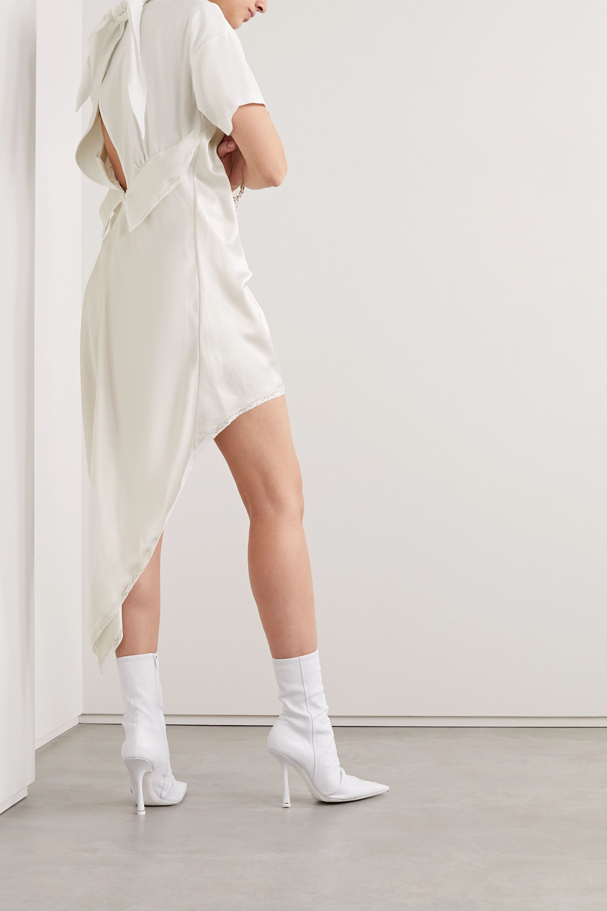 Alexander Wang Appliquéd layered lace-trimmed satin and cotton-jersey dress