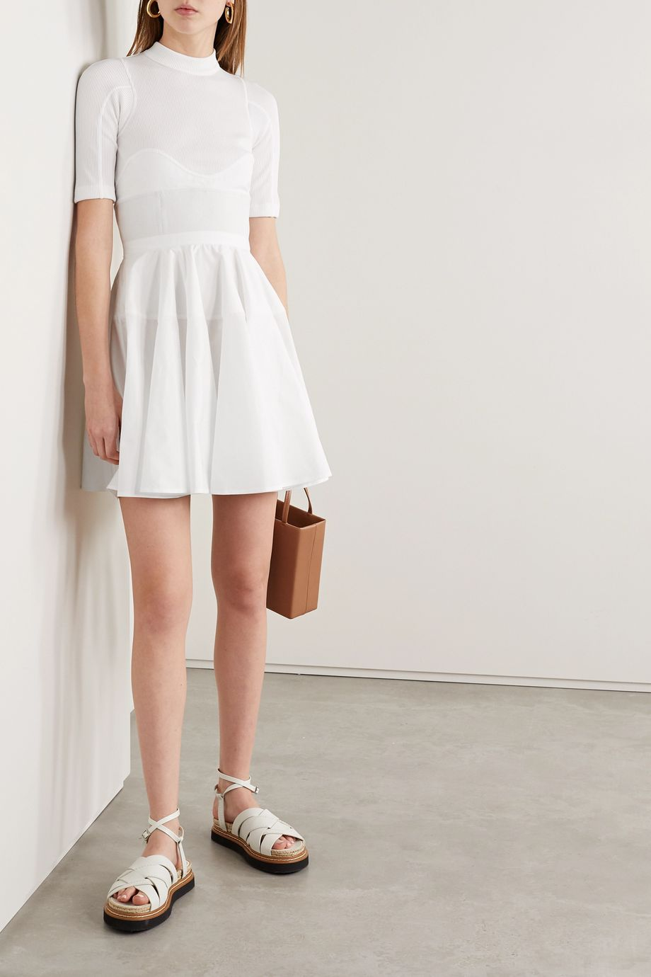 Alexander Wang Paneled cotton-poplin, ribbed jersey and canvas mini dress