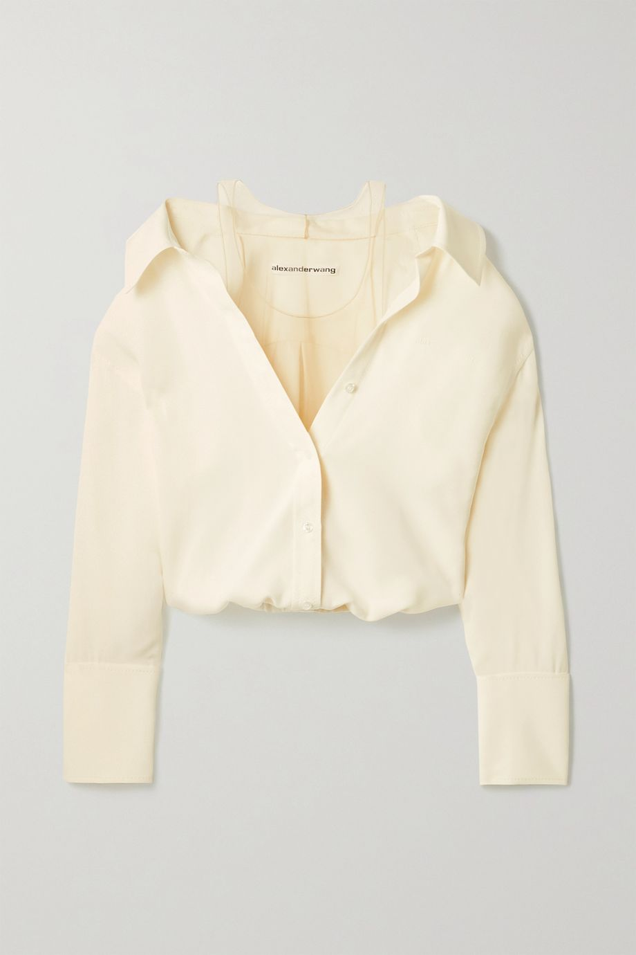Alexander Wang Cropped silk-crepe and stretch-tulle blouse