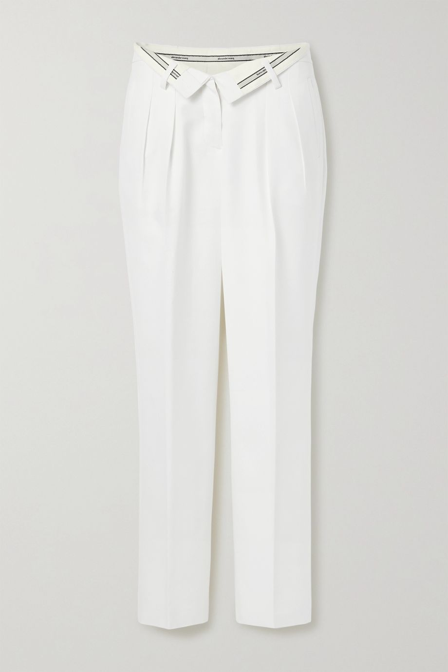 Alexander Wang Fold-over jacquard-trimmed woven straight-leg pants