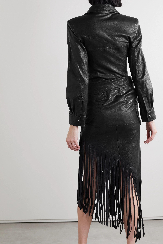 Alexander Wang Asymmetric fringed draped leather shirt dress