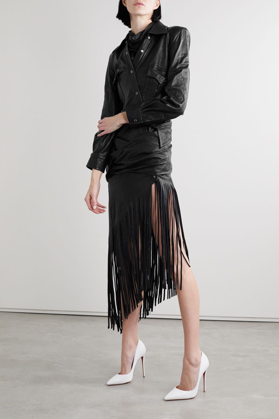 Alexander Wang Asymmetric fringed draped leather shirt dress