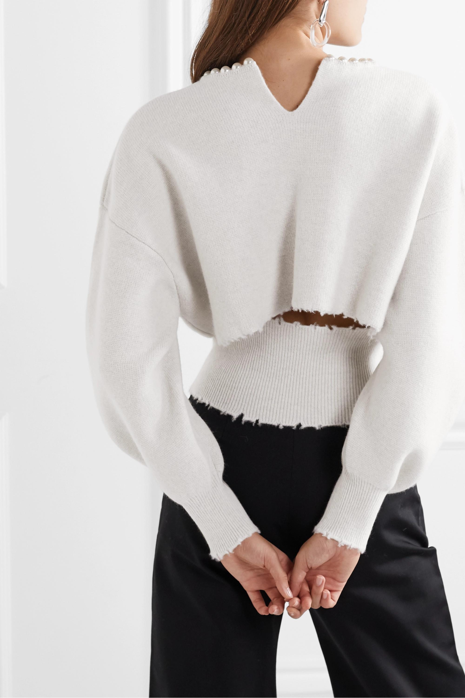 Alexander Wang Pullover aus einer Wollmischung mit Kunstperlen, Cut-out und Distressed-Details