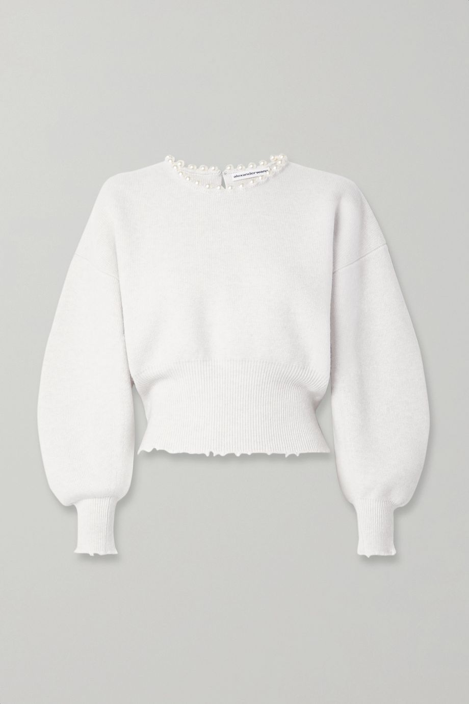 Alexander Wang Faux pearl-embellished cutout distressed wool-blend sweater
