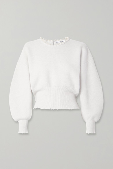 Faux Pearl Embellished Cutout Distressed Wool Blend Sweater by Alexander Wang