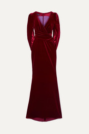 Talbot Runhof Roisin draped cape-effect stretch-velvet gown