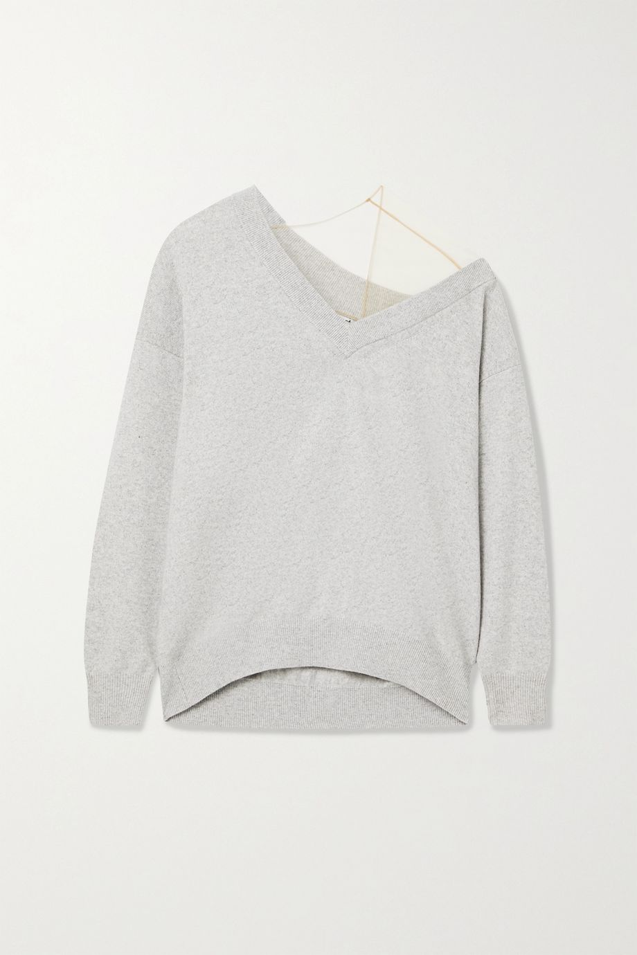 Alexander Wang Asymmetric tulle-trimmed wool-blend sweater