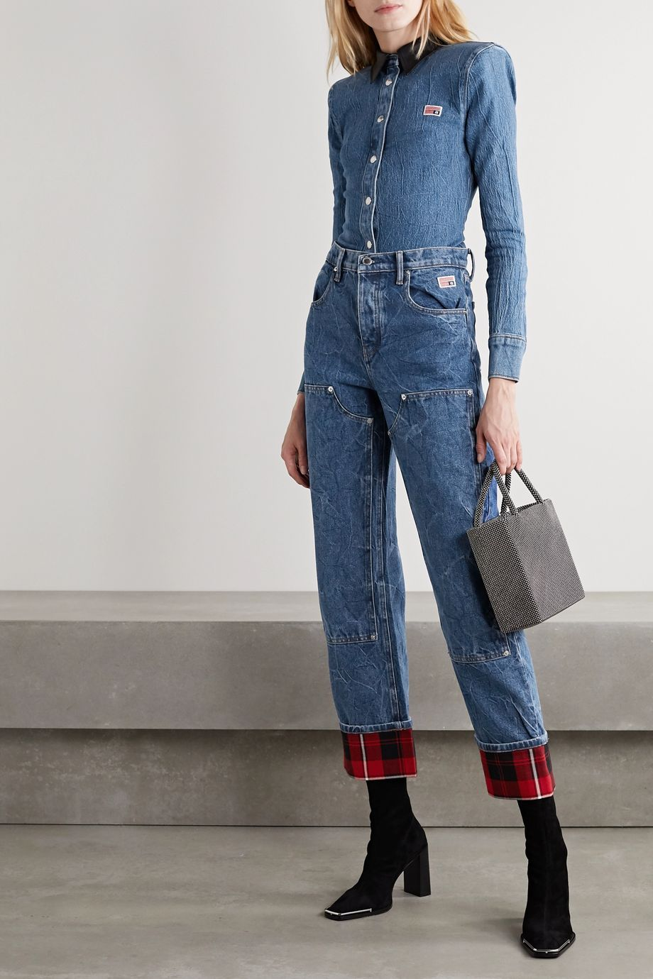 Alexander Wang Flannel-paneled high-rise straight-leg jeans