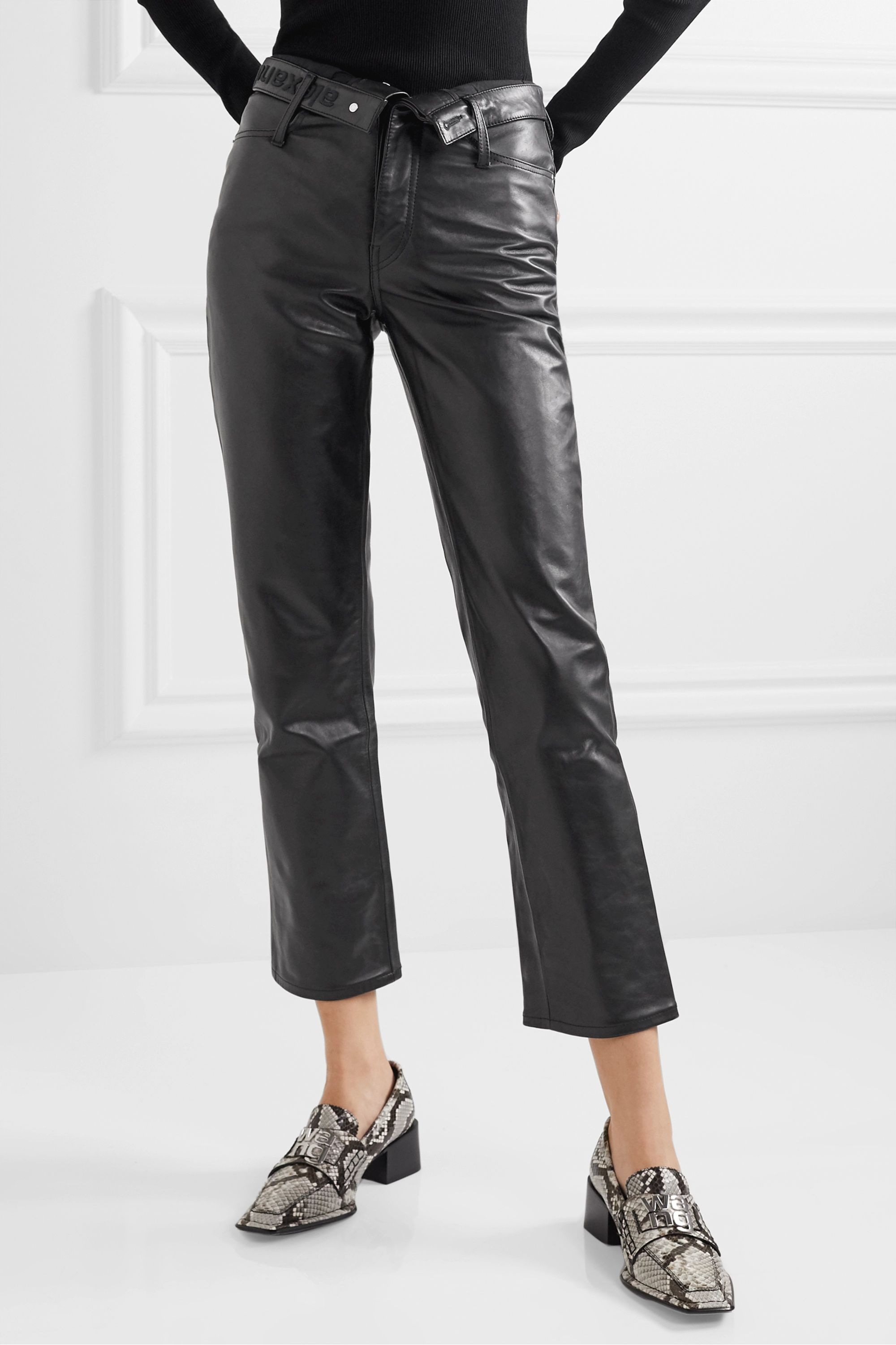 Alexander Wang Cult Flip fold-over embroidered leather straight-leg pants