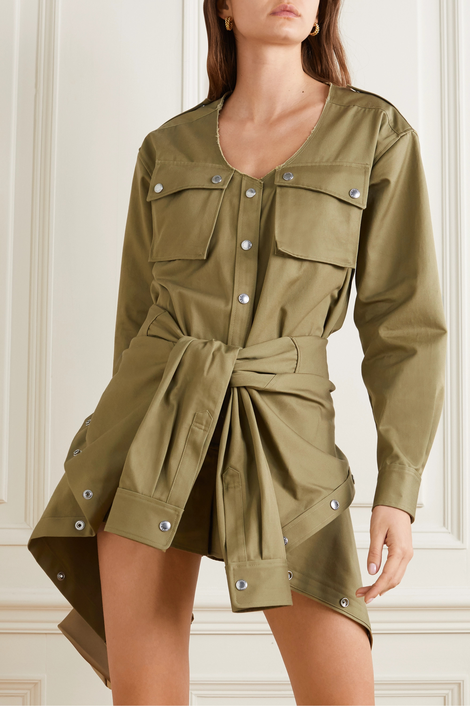 Alexander Wang Distressed tie-front cotton-twill playsuit