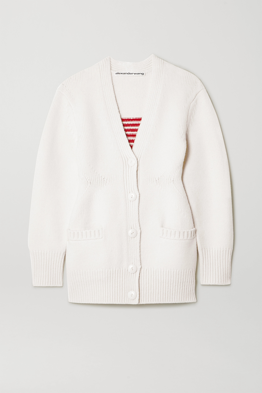 Intarsia wool blend cardigan