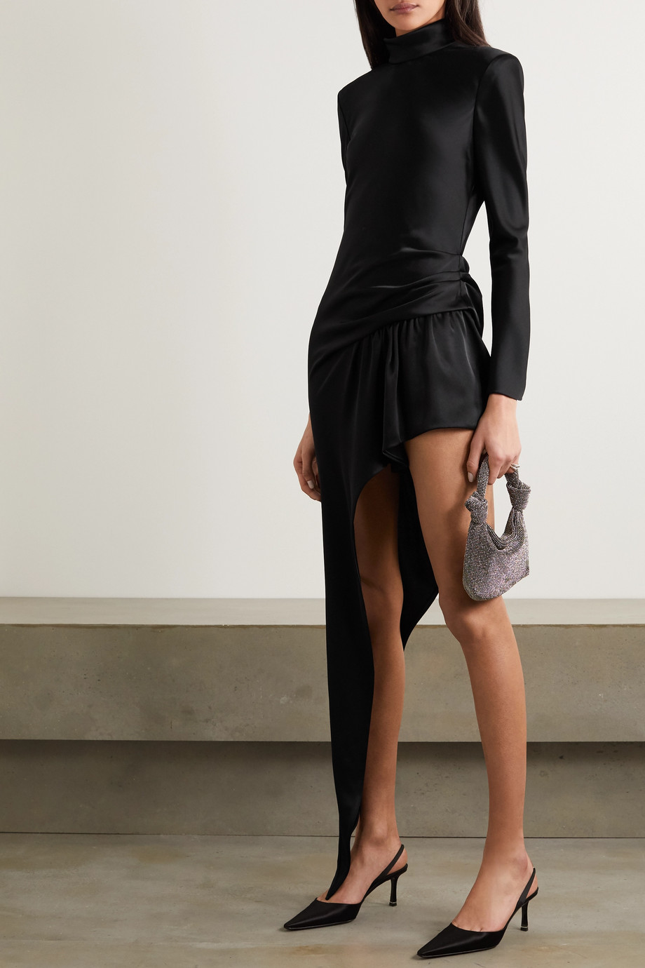 Alexander Wang Asymmetric gathered satin turtleneck mini dress