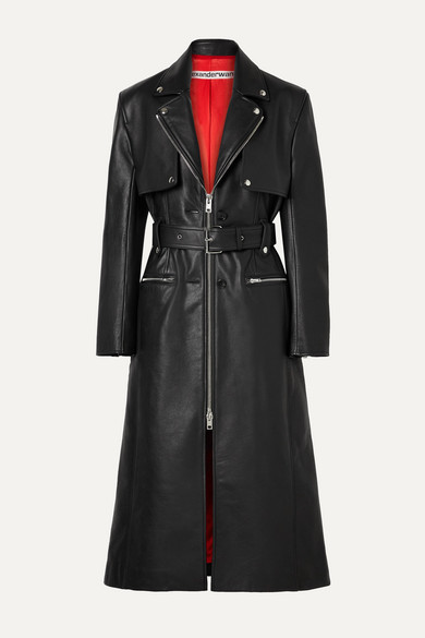 Alexander Wang Coats Belted leather trench coat
