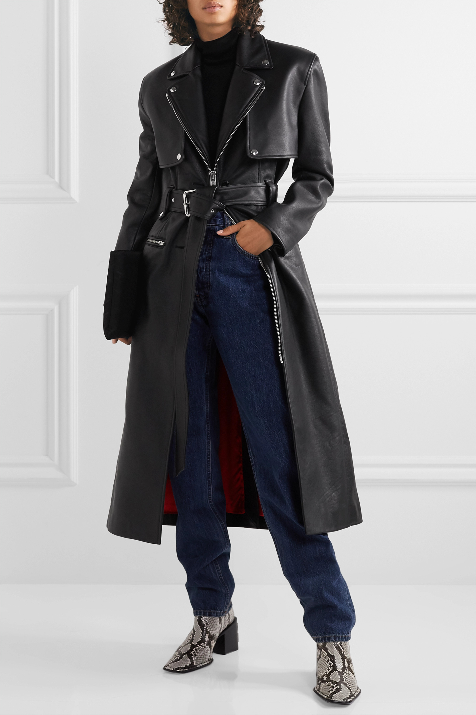 Alexander Wang Belted leather trench coat